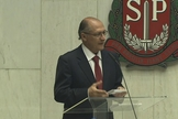 Alckmin discursa na cerimônia de posse na Assembleia Legislativa (Foto: Reprodução/TV Globo)
