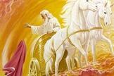 Pintura ilustra Elias jogando o seu manto para Eliseu, enquanto sobe aos céus na carruagem celeste. (Imagem: Google)