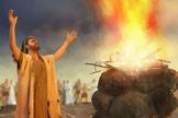 """Cena ilustra Elias na """"batalha"""" contra os adoradores de Baal, provando o poder de Deus. (Foto: Getty)"""
