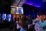 Benjamin Netanyahu em discurso televisionado na conferência Cristãos Unidos por Israel, em Washington. (Foto: Twitter)
