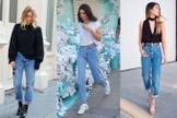 A mom jeans é larguinha, tem cintura alta e caimento reto. (Foto: Pinterest/Reprodução)