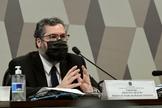 Chanceler Ernesto Araújo em pronunciamento no Senado. (Foto: Edilson Rodrigues/Agência Senado)