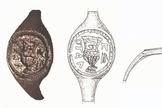 Análise do anel que pode ter pertencido a Pôncio Pilatos (Desenho: J. Rodman; Foto: C. Amit/Autoridade de Antiguidades de Israel via Universidade Hebraica)