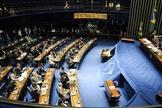 Senado durante sessão plenária, dirigida pelo presidente da Casa, Renan Calheiros. (Foto: Exame)