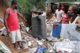 Família do pedreiro José Cláudio Batista volta ao local onde filha [de rosa] ficou soterrada, no Recife. (Foto: Tião Siqueira / JC Imagem)