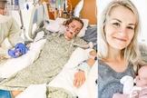 Angela internada e intubada; Ava nos braços da mãe, que sobreviveu à Covid-19. (Foto: Reprodução / Instagram)