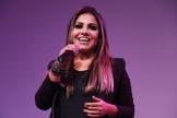 Gabriela Rocha durante apresentação ao vivo no Encontro de Mídias e Lojistas. (Foto: Guiame/ Marcos Paulo Corrêa)