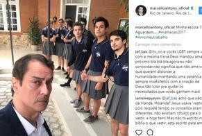 Marcello Antony publicou foto com garotos de saia, durante uma gravação de cena da novela Malhação. (Imagem: Instagram - reprodução)