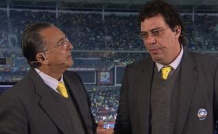 Casagrande se emociona ao lado de Galvão Bueno, falando sobre vitória contra as drogas. (Imagem: rede Globo)