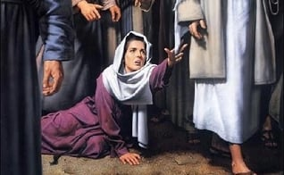 Pintura que ilustra cena da mulher hemorrágica, curada por Jesus Cristo. (Imagem: servojurandir)