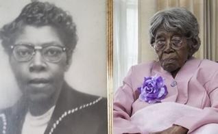 Hester Ford em sua juventude e hoje, aos 116 anos de idade. (Foto:  Arquivo pessoal/Mary Hill)