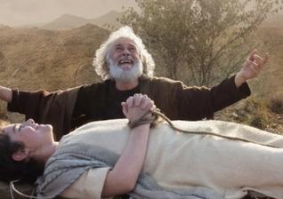 Cena de Abraão com Isaque sobre o altar no Monte Moriá. (Foto: Reprodução / R7)
