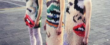 Designer de moda cria vestidos usando unhas postiças