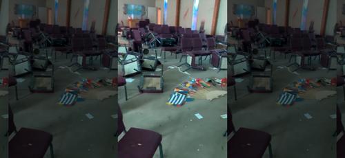 A igreja One Church, em Memphis, teve bancos quebrados e paredes sujas de tinta, além de dinheiro e alto-falantes roubados. (Foto: Fox News)