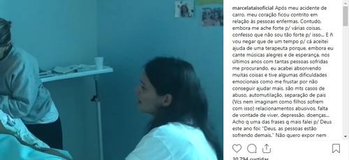 Marcela Taís visitou Julia, de 12 anos, que está com câncer em estágio terminal, internada em um hospital de Brasília. (Imagem: Instagram - Reprodução)