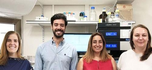 Da esquerda para a direita: Prof. Helena Florindo, Dr. João Conniot, Prof. Ronit Satchi-Fainaro e Dra. Anna Scomparin na Universidade de Tel Aviv. (Foto: Reprodução/Galia Tiram)