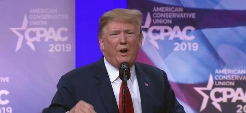 Donaldo Trump discursando na Conferência de Ação Política Conservadora 2019, nos EUA. (Foto: Reprodução/Ohio Star)