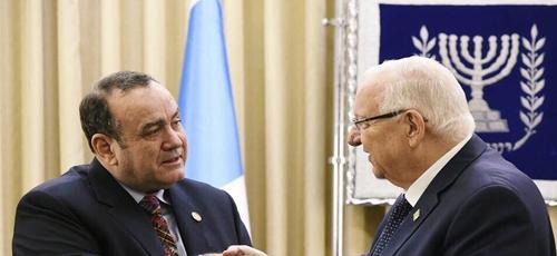 Presidente eleito da Guatemala, Alejandro Giammattei e o presidente israelense Reuven Rivlin. (Foto: Alejandro Giammattei)