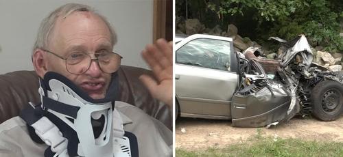 Donald Rawson sobreviveu a acidente que destruiu seu carro nos EUA. (Foto: WZZM)