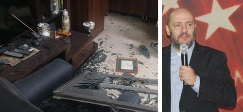 Pastor Said Deeb e imagem do escritório da igreja após as explosões. (Foto: Reprodução / Facebook)