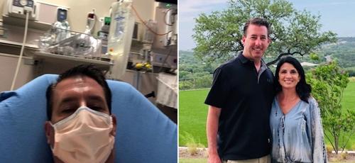C.J. MacDonald durante sua internação na UTI e hoje recuperado ao lado da esposa. (Foto: Reprodução / BP Press)