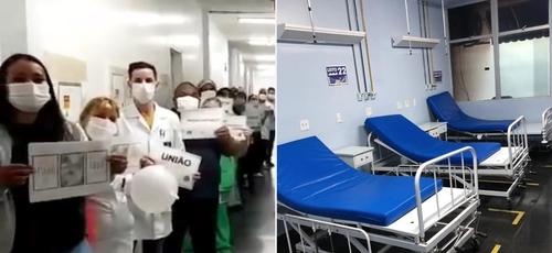 Funcionários louvam a Deus e mostram alas de Covid vazias. (Foto: Reprodução/Facebook/Montagem Guiame)