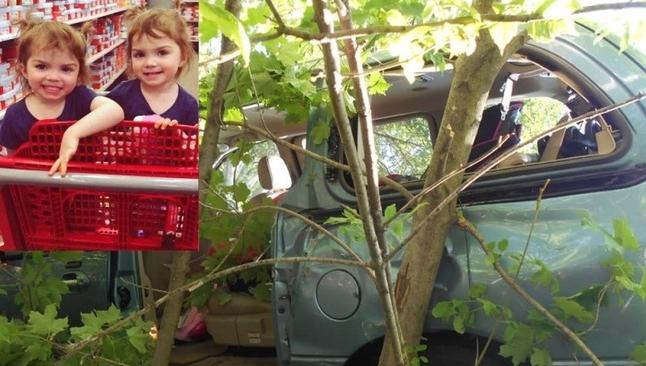 Bella com sua irmã gêmea, Elena, de 2 anos. (Foto: Mike Tusken/Facebook Polícia de Duluth)