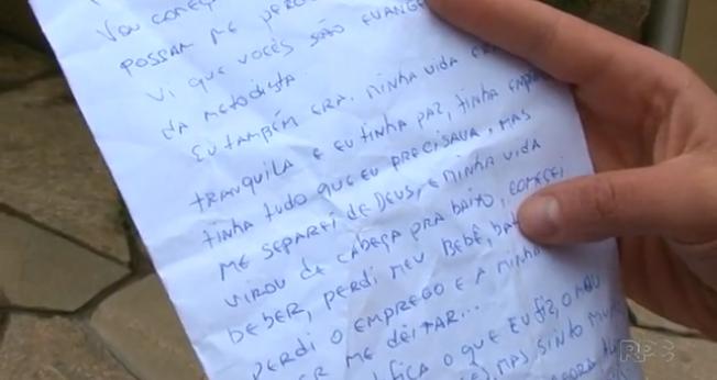 Ladrão se arrepende, devolve carro e pertences roubados e pede perdão em carta. (Foto: RPC/Reprodução)