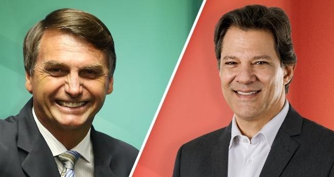Jair Bolsonaro (PSL) e Fernando Haddad (PT) disputam o segundo das eleições em 2018. (Imagem: UOL)
