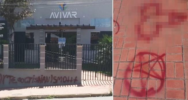 Fachada da Igreja Batista Avivar Poços de Caldas (MG) pichada com mensagens de ódio. (Foto: Reprodução/TV Plan)