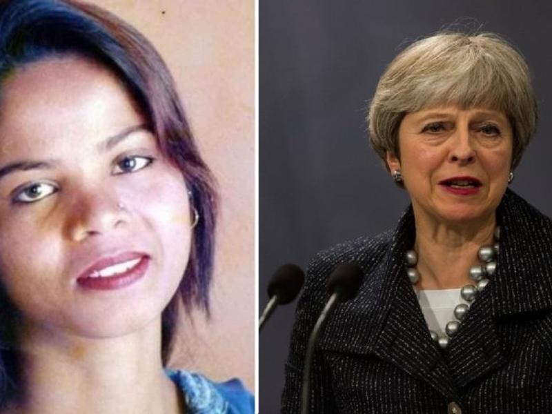 """Asia Bibi (esquerda) está sendo ameaçada de morte por extremistas islâmicos, mesmo após sua absolvição. A primeira-ministra Theresa May (direita) disse que a segurança da paquistanesa é a """"principal preocupação"""" do Reino Unido. (Foto: Voice of Europe)"""