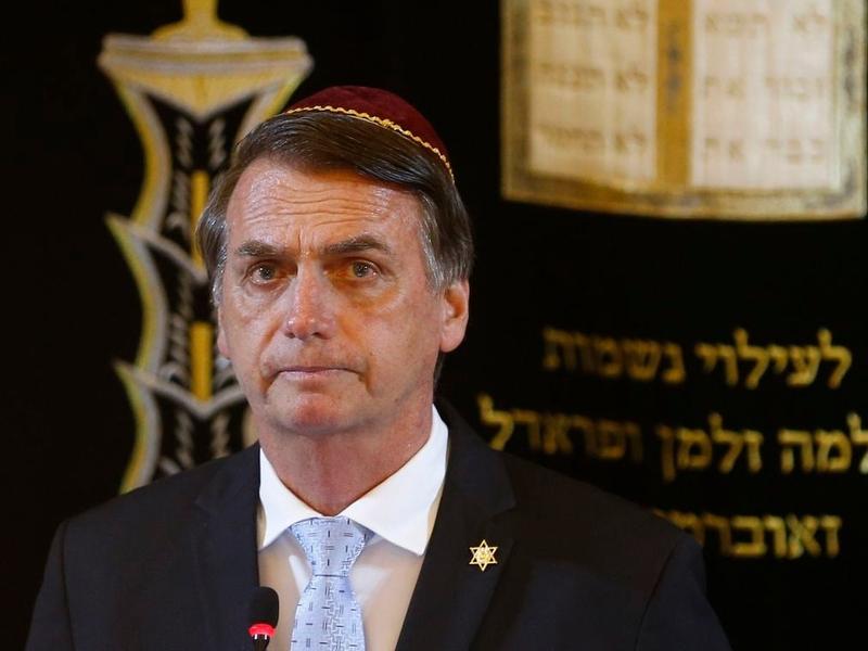 Presidente Jair Bolsonaro em visita à sinagoga Kehilat Yaacov, no Rio de Janeiro. (Foto: Fernando Frazão/Agência Brasil)