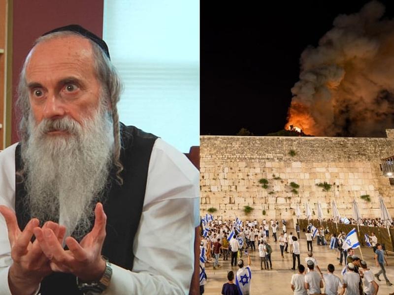 Rabino Lazer Brody e judeus diante do Muro das Lamentações enquanto a mesquita de al-Aqsa está em chamas. (Foto: Reprodução/Mendy Hechtman/Flash90)