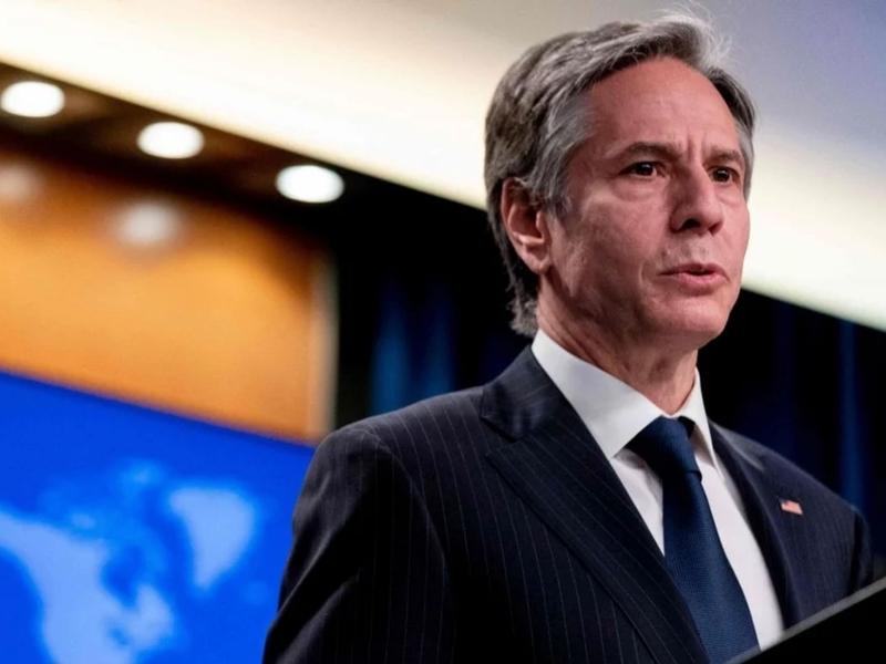 Antony Blinken discutindo o Relatório 2020 sobre Liberdade Religiosa Internacional, no Departamento de Estado em Washington, dia 12 de maio de 2021. (Foto: AFP)