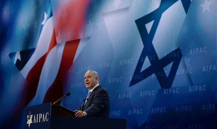 Benjamin Netanyahu em discurso na Conferência Aipac em Washington, nos EUA. (Foto: Haim Zach/GPO)
