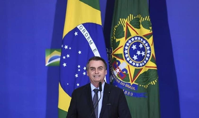 O presidente Jair Bolsonaro durante evento para celebrar Páscoa no Palácio do Planalto. (Foto: Evaristo Sá/AFP)