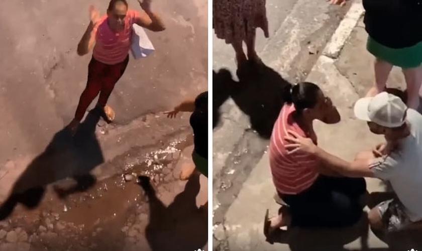 Vídeo publicado nas redes sociais mostra o momento em que uma mulher se reconciliou com Deus. (Foto: Reprodução)