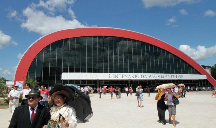 Fachada do Centro de Convenções da Assembleia de Deus Belém. (Foto: Marcelo Lelis)