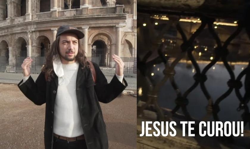 O brasileiro Luca Martini filmou sua saga de evangelismo em Roma. (Foto: YouTube/Luca Martini)