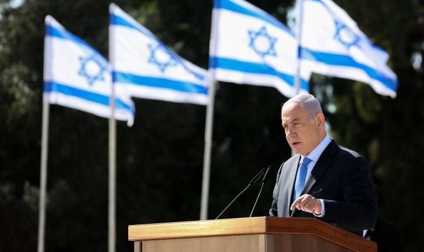 Benjamin Netanyahu durante cerimônia memorial em Tel-Hai, no norte de Israel, em 23 de fevereiro de 2021. (Foto: David Cohen/Flash90)