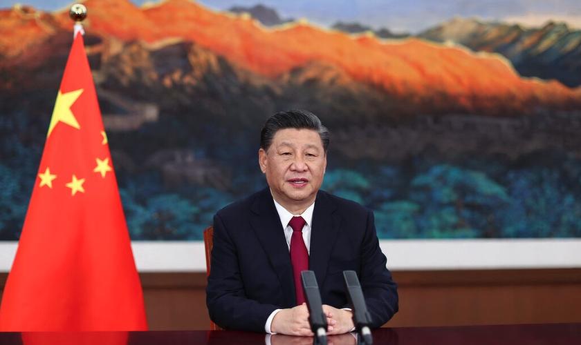 Presidente chinês Xi Jinping em discurso via vídeo no Fórum Boao para a Ásia em 2021. (Foto: AFP)