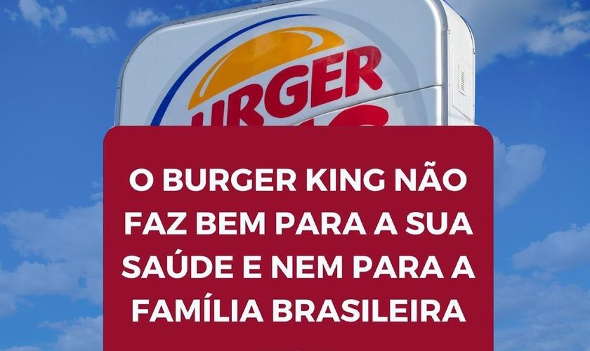 Imagem com crítica à campanha do Burger King tem viralizado. (Foto: Redes sociais/Montagem Guiame)