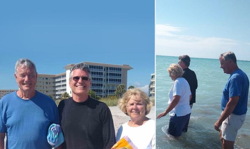Os pais de Robb Long foram batizados em abril de 2021 em Venice, na Flórida. (Foto: Arquivo pessoal/Montagem Guiame)