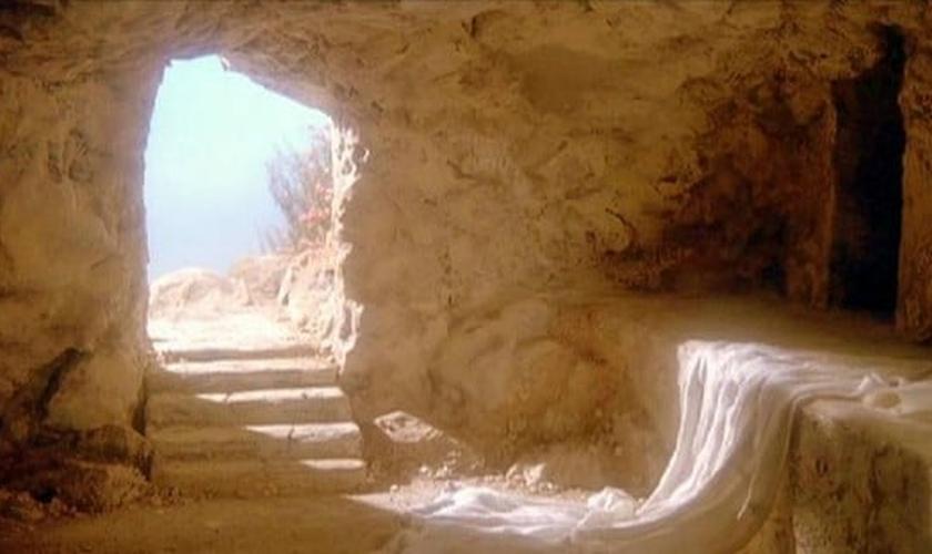 Pintura que remete ao sepulcro de Jesus Cristo após sua ressurreição.