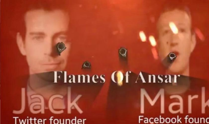 O vídeo mostra as imagens de Jack Dorsey, fundador do Twitter e Mark Zuckerberg, fundador do Facebook sendo perfurados por balas. (Foto: Reprodução)