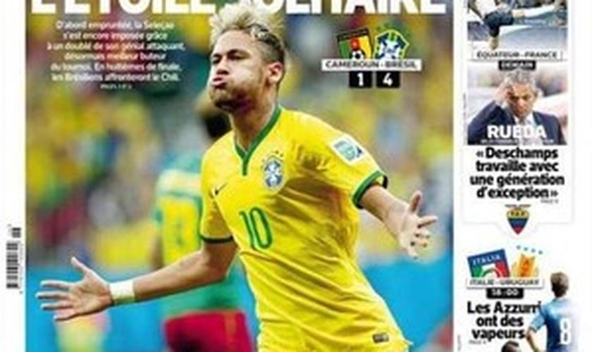 Neymar é a capa do L´Equipe após decidir para o Brasil contra Camarões
