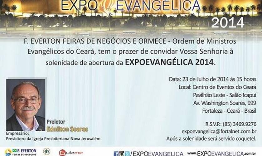 Ednilton Soares será o preletor na cerimônia de abertura da ExpoEvangélica 2014