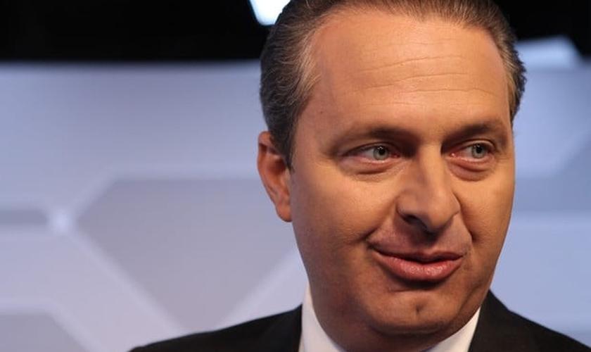 O candidato Eduardo Campos no estúdio do G1 durante entrevista na última segunda (11)