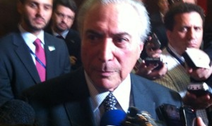 O vice-presidente Michel Temer, em encontro com empresários em Brasília