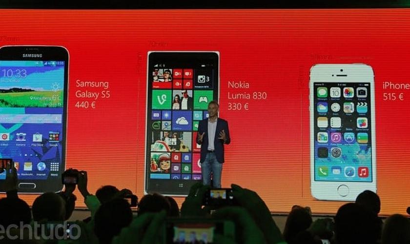Comparação de preços entre o Lumia 830 e os rivais iPhone 5S e Galaxy S5